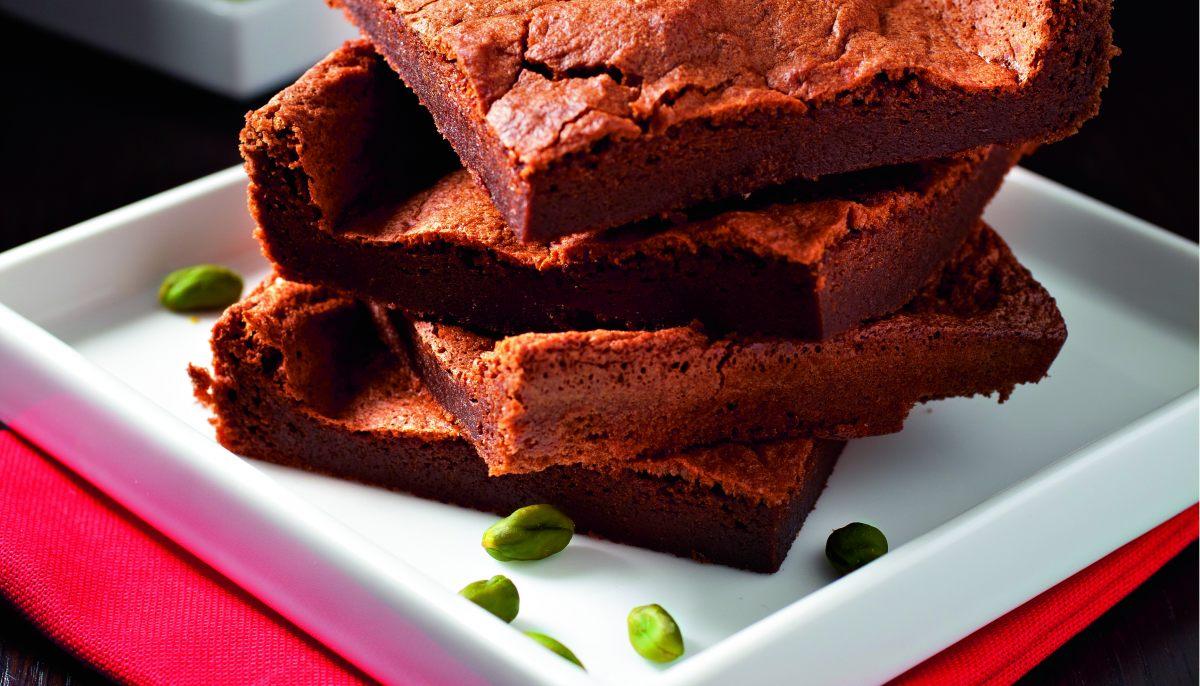 Pavé fondant au chocolat sauce pistache par Joël Robuchon