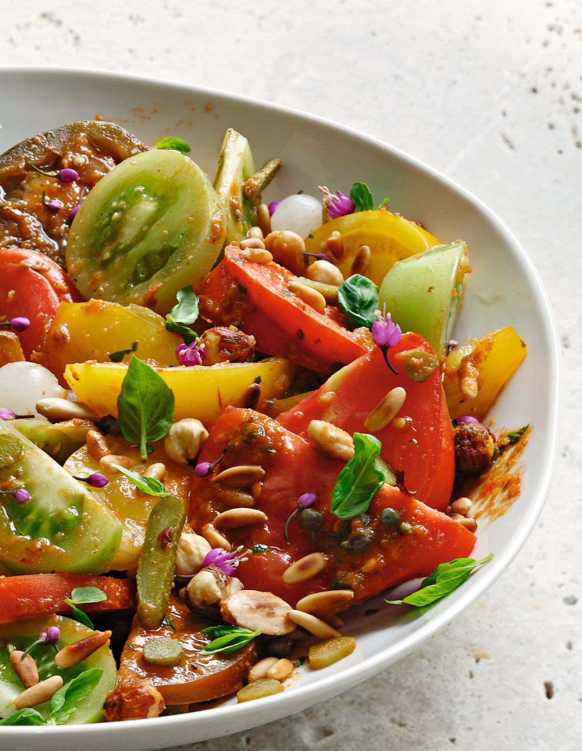 Salade de tomate, sauce romesco