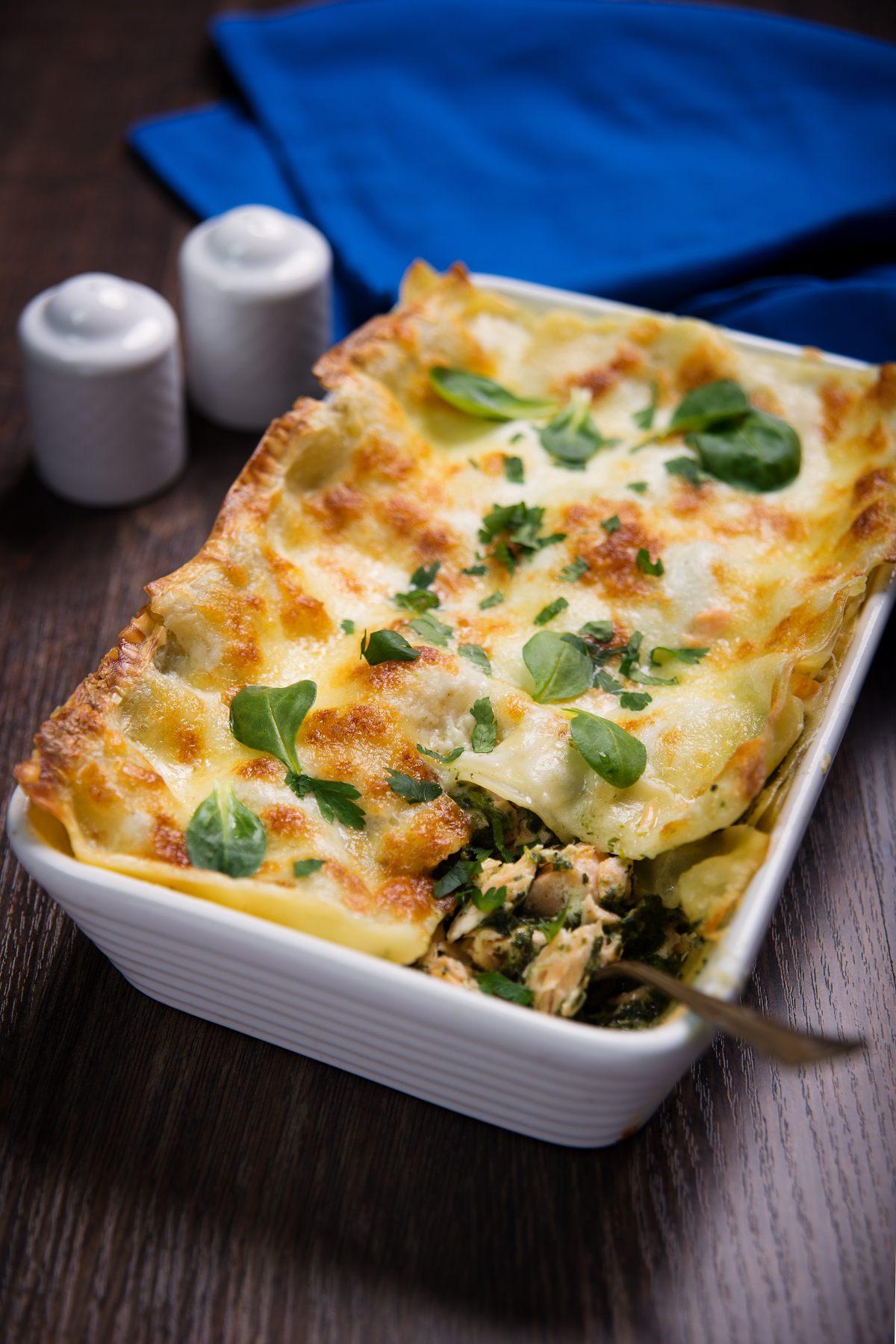 Lasagnes, saumon, épinards