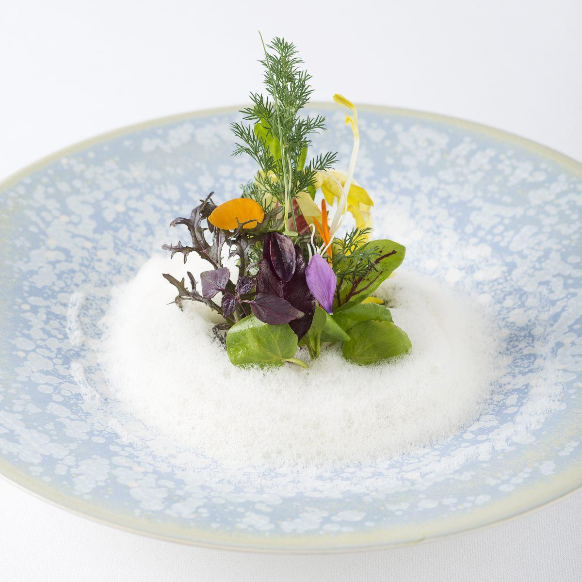 Salade de légumes croquants, saumon et émulsion à la roquette