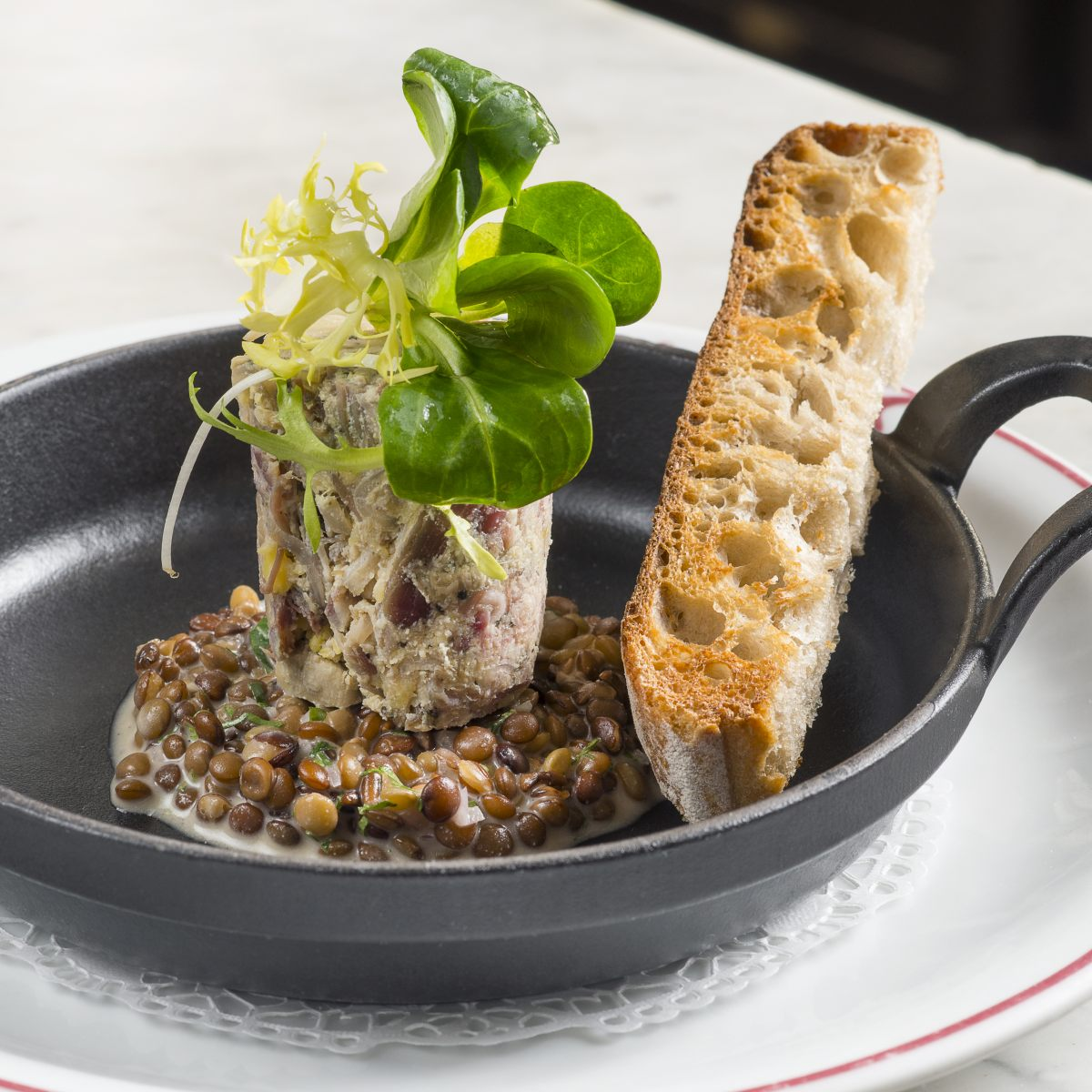 Rillettes de jarrets de cochon confit et foie gras