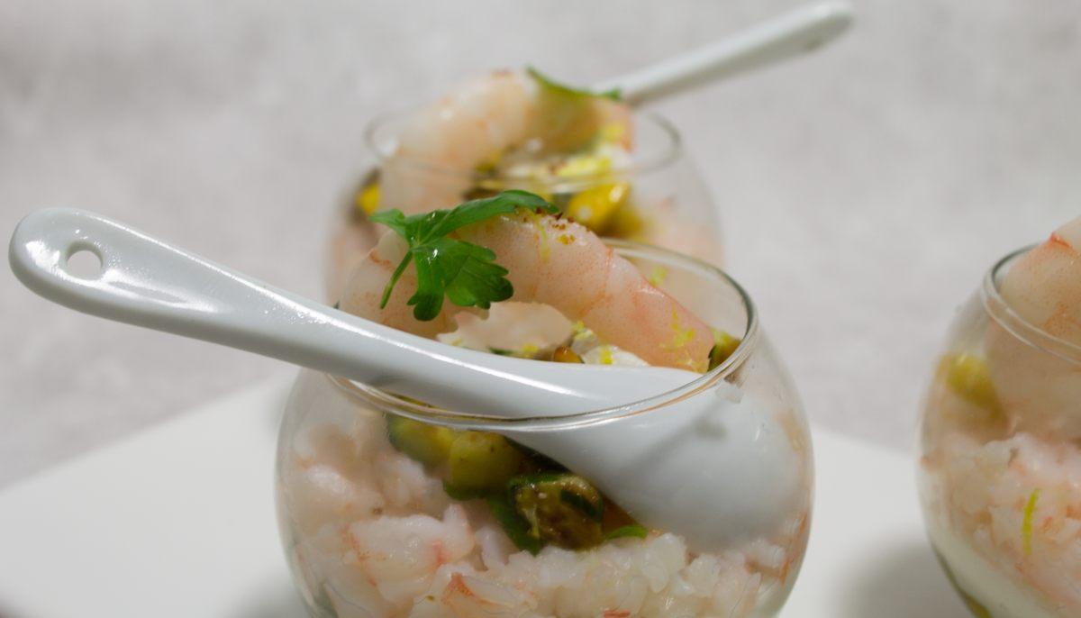 Recette de verrines de courgette ricotta et crevettes par for Cuisinier vegan