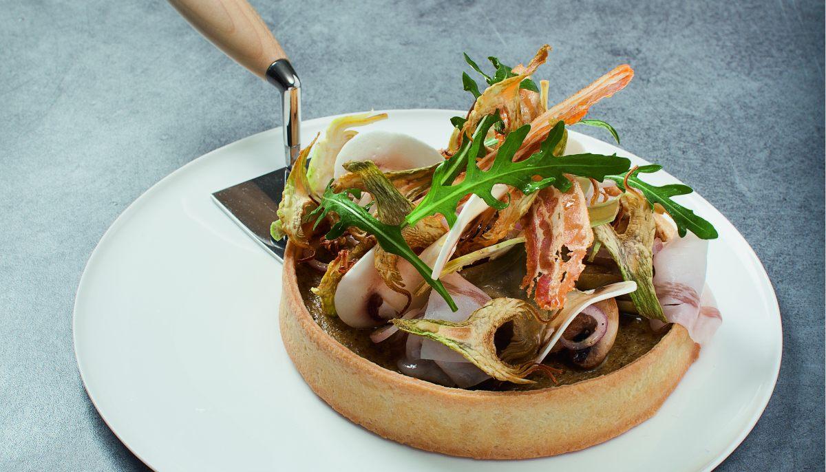 tarte champignon lard artichaut par l 39 cole de cuisine alain ducasse. Black Bedroom Furniture Sets. Home Design Ideas