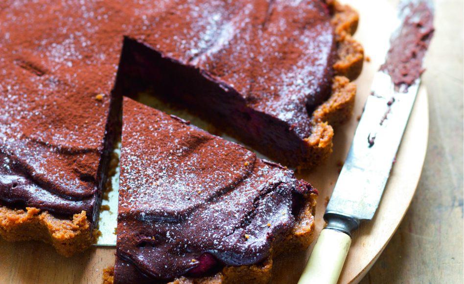 Tarte au chocolat truff e aux framboises par julie andrieu - Recette tarte aux chocolat ...
